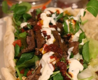 BEST EVER MARINATED LAMB KEBABS WITH HARISSA STUFFED IN HOMEMADE FLATBREADS