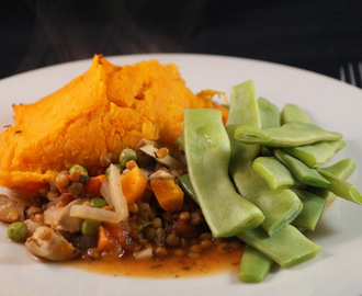 Veggie Shepherd's Pie served with Sugar Snap Peas, comfort food feast.