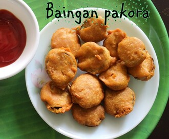 Baingan pakora recipe – How to make baingan pakora/brinjal fritters recipe