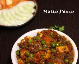 Mutter Paneer (Green peas and Cottage Cheese) – Semi dry curry