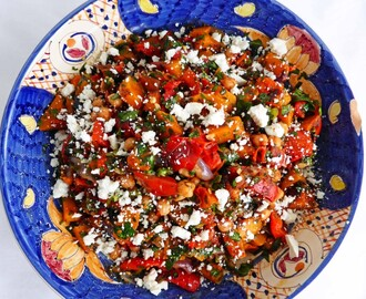 Recipe for Roast Butternut Squash, Red Onion and Chickpea Salad