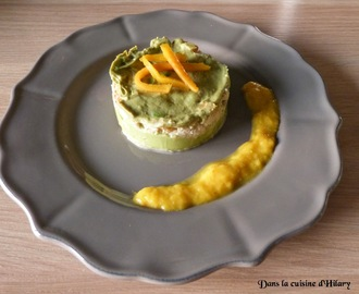 Millefeuille crabe - avocat et sa vinaigrette de mangue / Crab and avocado millefeuille and its mango vinaigrette
