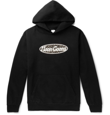 Last Stop Flocked Logo-print Fleece-back Cotton-jersey Hoodie - Black
