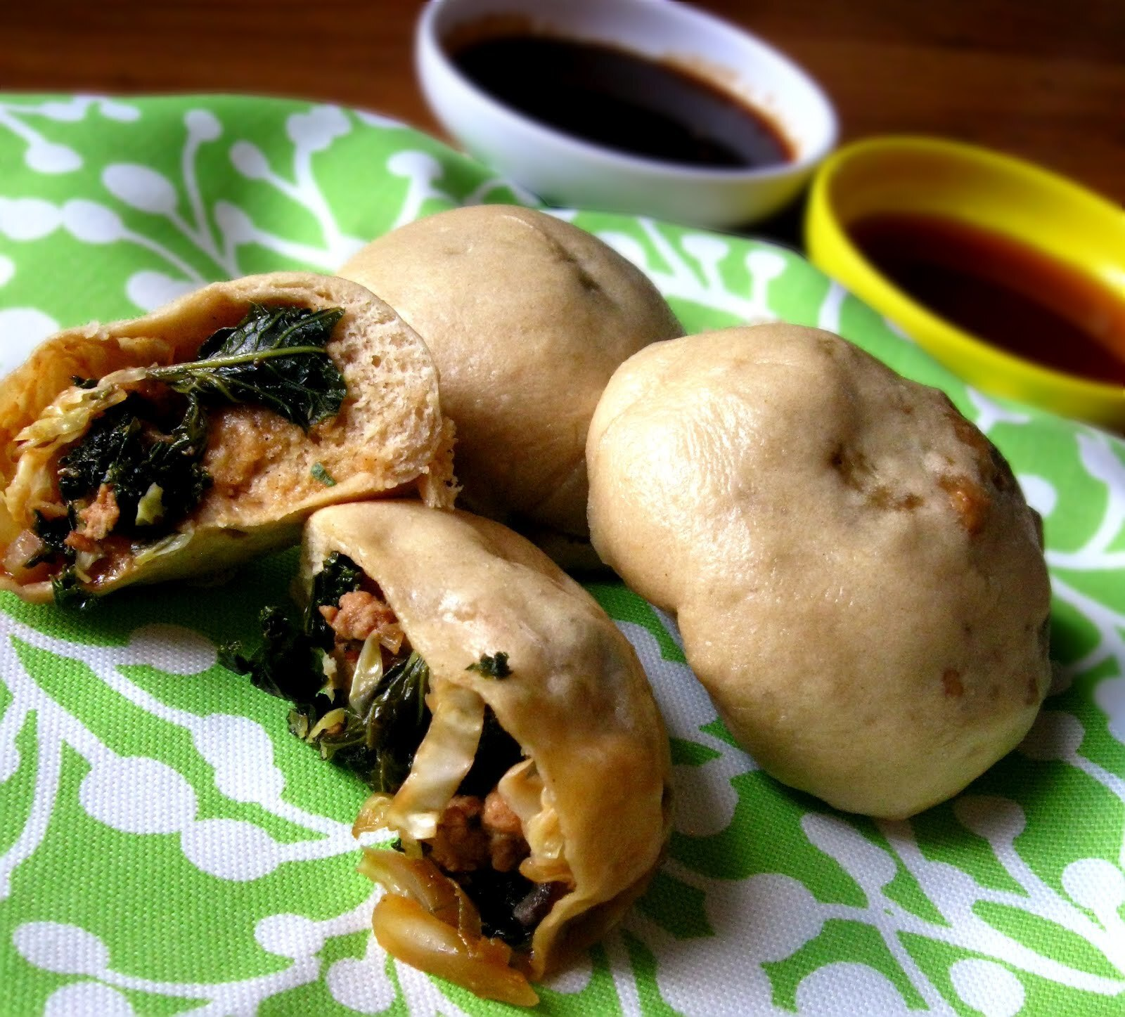Greened Asian Steamed Buns with two dipping sauces