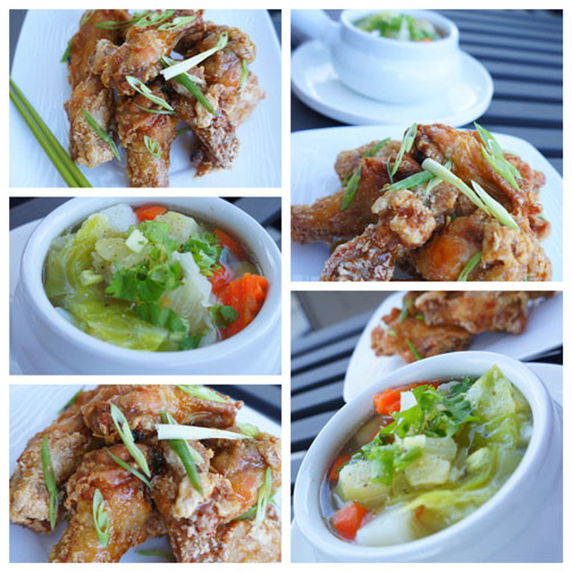 Tamarind chicken wings and summer vegetable soup (canh ga chien nuoc mam me, canh rau cu)
