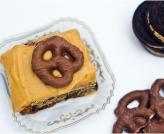 Peanut Butter Oreo Pretzel Brownies