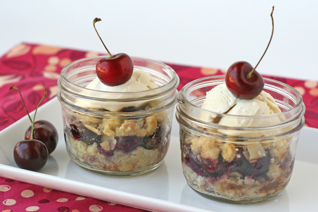 Cherry Crumble in a jar {Desserts in Jars Cookbook Giveaway}