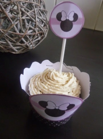 Cupcakes (muffins chocolat, topping mascarpone vanillé), Sweet table Minnie, au thermomix ou sans