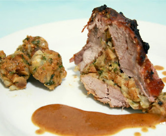 Beer and Honey marinated Pork roast stuffed with figs, olives, almonds and pine nuts