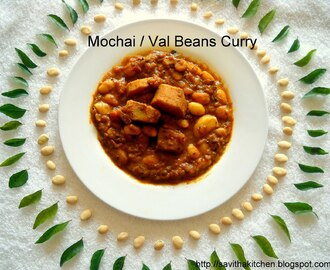 Mochai kuzhambu / Val Beans Curry and my son's Project
