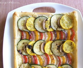 Thin Crust Grilled Garden Vegetable Pizza with Pepper Jack Cheese
