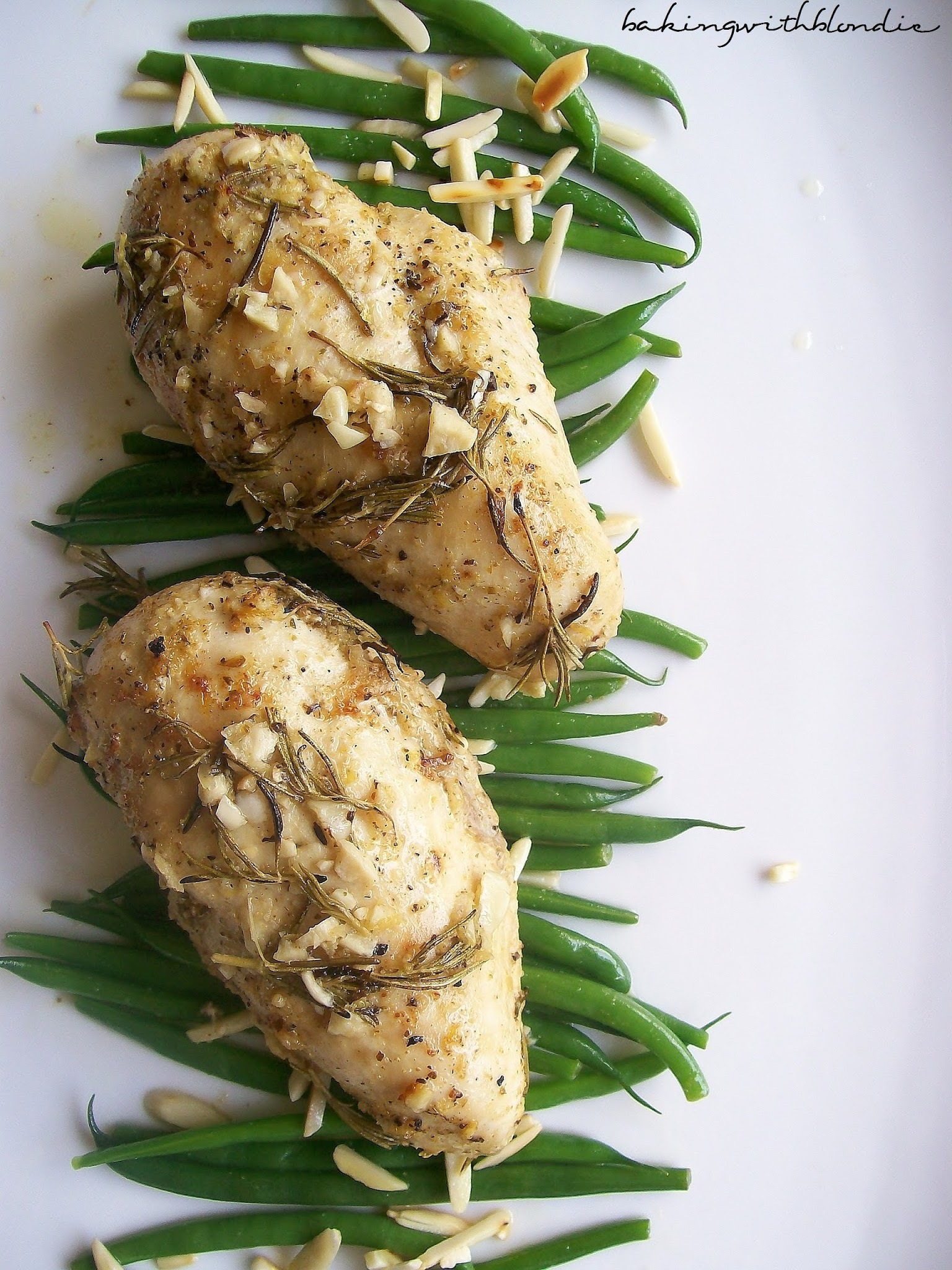 Garlic Roast Chicken with Rosemary and Lemon + Green Beans with Toasted Almonds