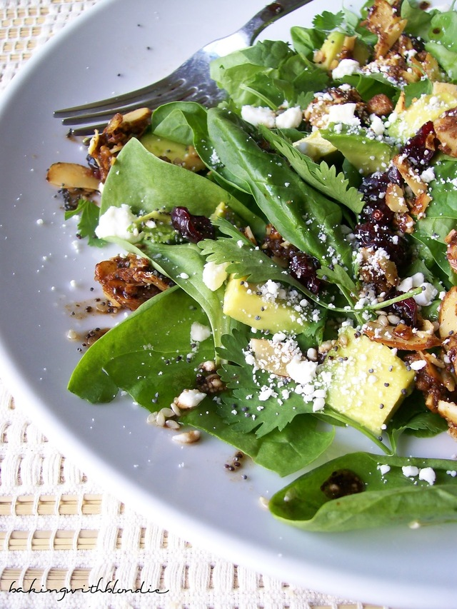 Cranberry-Avocado Salad with Candied Spiced Almonds and Poppy Seed Balsamic Vinaigrette