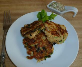Salmon Potato Cakes with Mustard Tartar Sauce