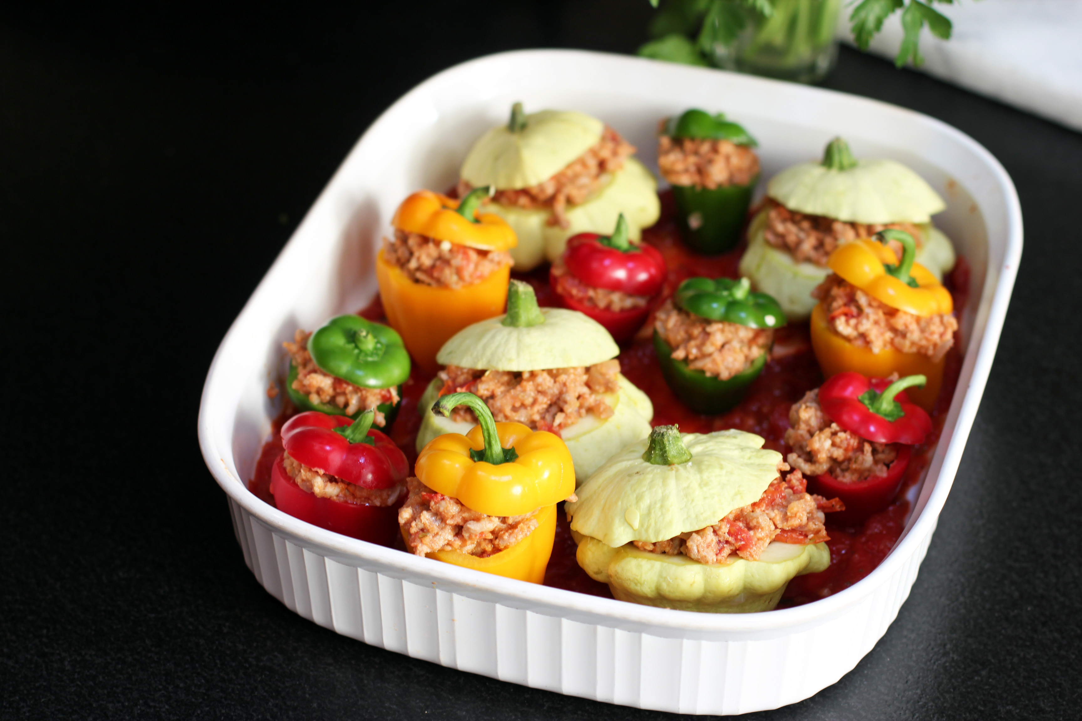 Veal Stuffed Mini Peppers and Patty Pan Squash