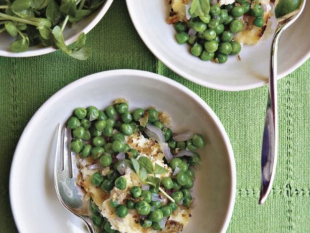 Deborah Madison's Peas with Baked Ricotta and Bread Crumbs