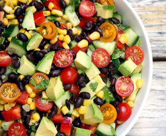 Cucumber, Black Bean, Corn, Tomato, and Avocado Salad