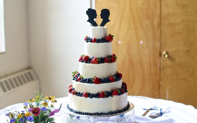 Wedding Cake with Berries and Silhouette Toppers