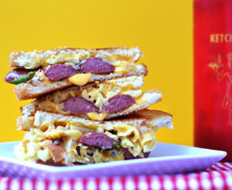 Grilled Cheese Hot Dog Mac n Cheese Sandwich