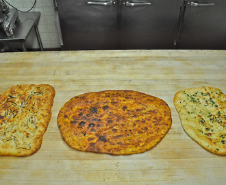 Three Focaccia Flavors:  Garlic and Bermuda Onion - Southwestern Chile Honey - Cilantro and Garlic
