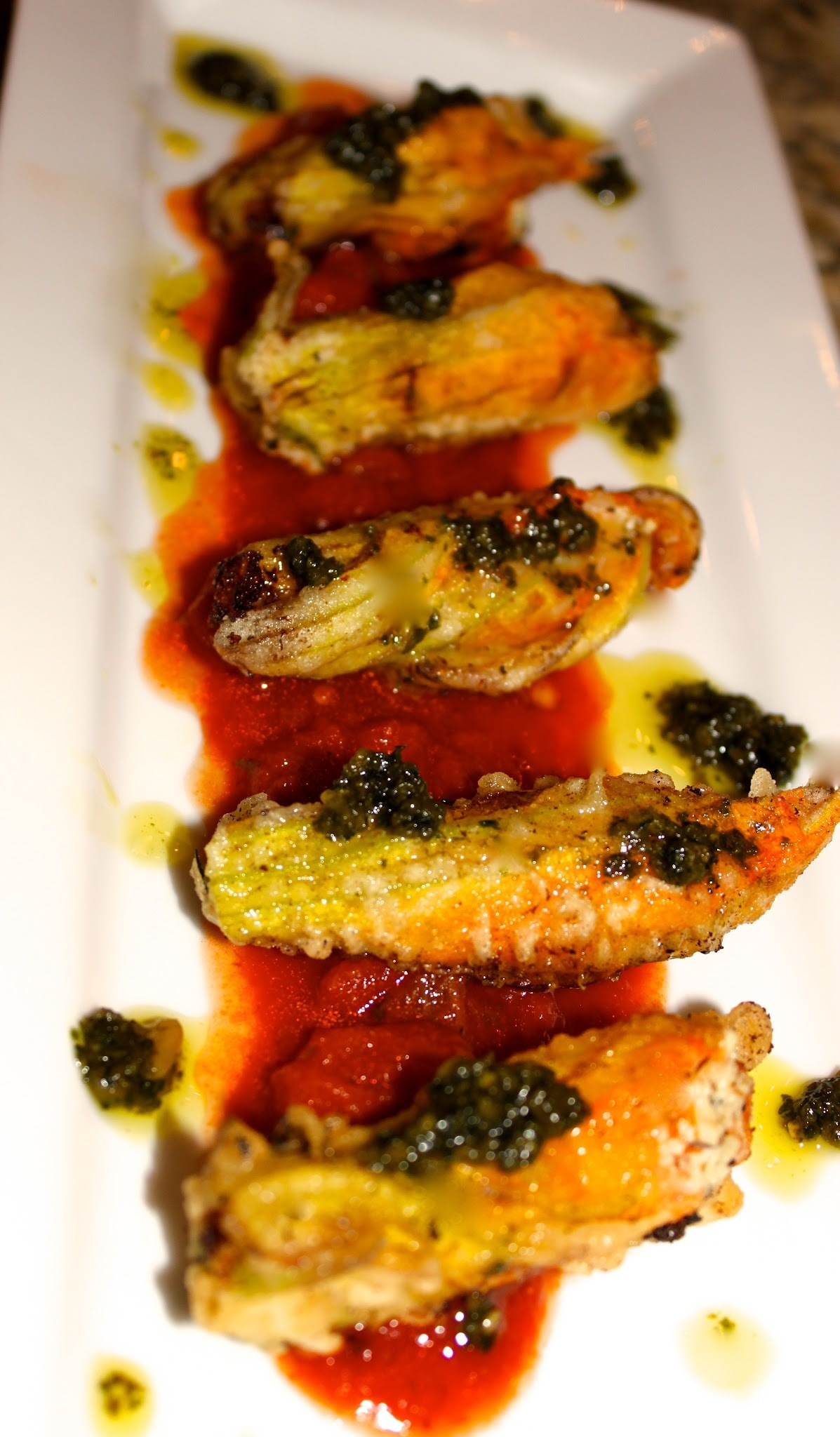 Cheese ~ Stuffed Fried Zucchini Blossoms with Fresh Tomato Sauce & Basil Pesto