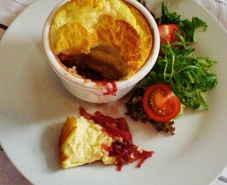 Cheese souffle with sweet red onion chutney
