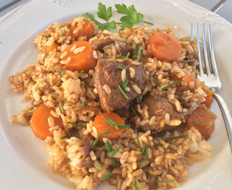 Arroz con carrilladas de cerdo