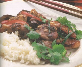Braised Red Bell Pepper and Eggplant with Steamed Rice