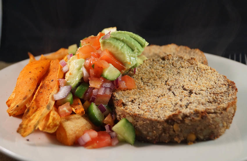 Chickpea, Mushroom & Olive Bakes served with Spicy Sweet Potato Fries and Fresh Homemade Avocado Salsa