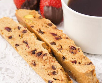 CHOCOLATE, DRIED POMEGRANATE AND PISTACHIO BISCOTTI