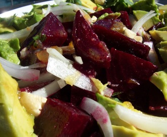 roasted beet and avocado salad with meyer lemon marmalade vinaigrette