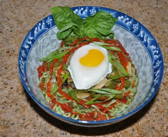 Cilantro Chutney Roasted Red Pepper Ramen Noodles with Poached Egg, Chile Sauce, Garlic Peppers and Onions