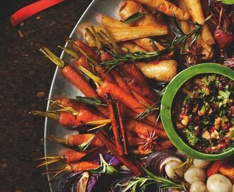 Yotam Ottolenghi's roast winter vegetable platter with walnut and barberry salsa. | Pins to Sort in 2018 | Pinterest | Vegetables, Food and Recipes