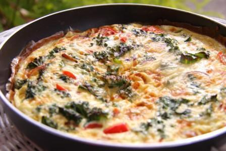Kale, Red Pepper & Onion and Feta Frittata