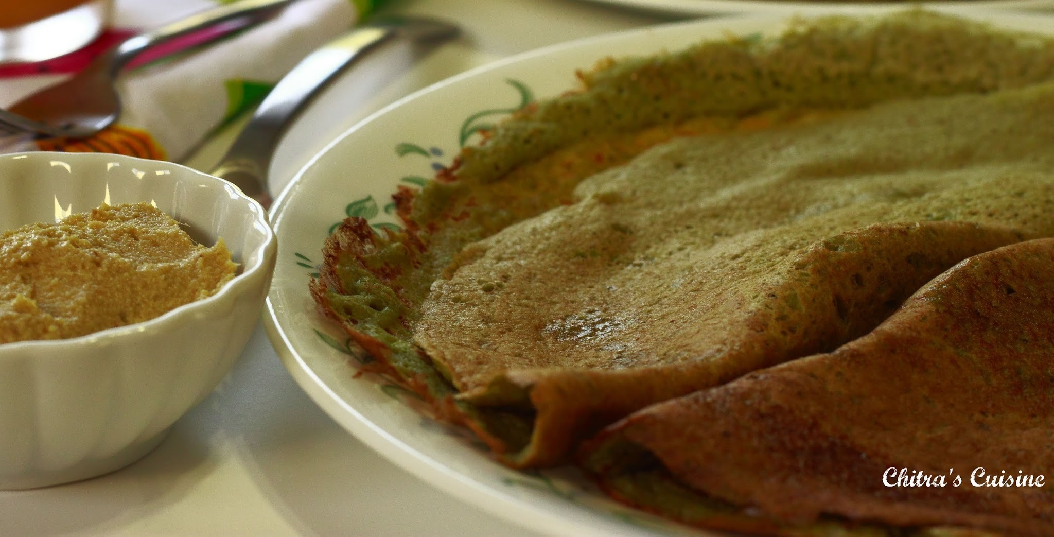 Whole Green Moong Dal Dosa with Ginger Chutney