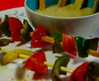 Baby Corn and Capsicum Satay with Peanut Sauce