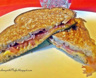 Two Cheese Grilled  prosciutto and tomatoe Sandwich