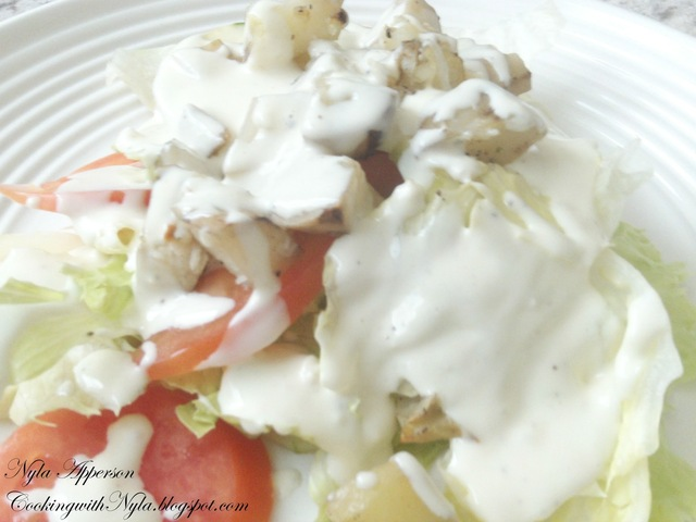 Salad with potatoes and chunky bleu cheese dressing