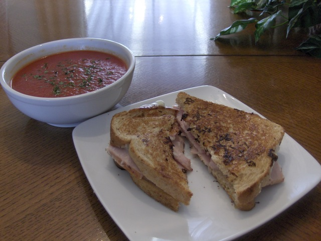 Grilled Turkey and Swiss Cheese w/ Tomato Soup