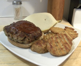 Ground Pork Pesto Burger w/ Baked Steakhouse Seasoned Griller Potatoes