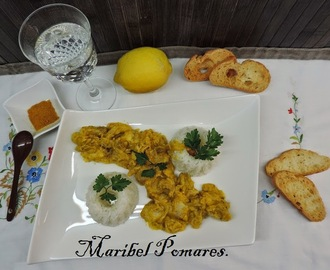 Pollo al curry con arroz en thermomix.