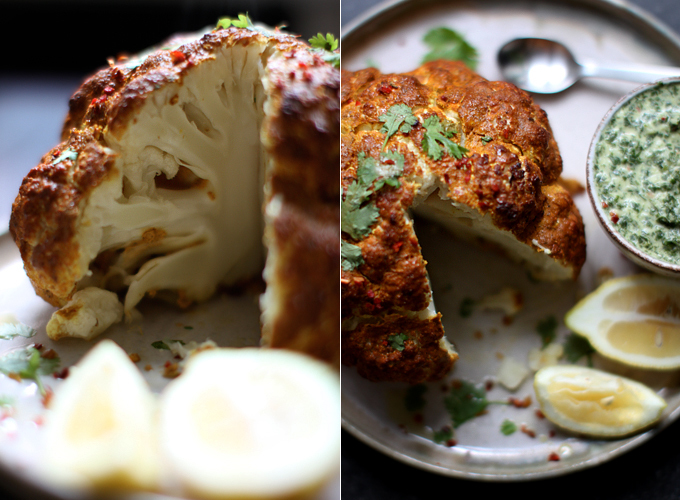 Whole Roasted Tandoori Cauliflower with Mint Chutney