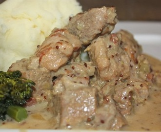 Pork & cider with creamy mustard sauce