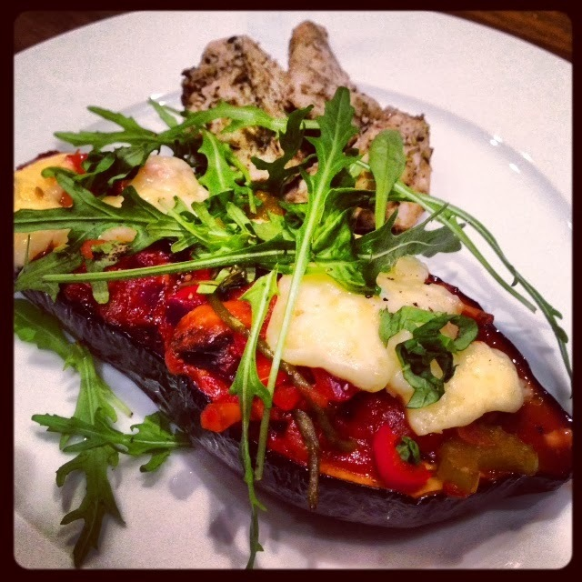 Baked Aubergine with Ratatouille and Chicken