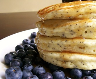 Lemon Poppyseed Pancakes with Fresh Blueberries