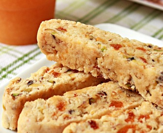 Eggless Apricot Pistachio Orange Biscotti