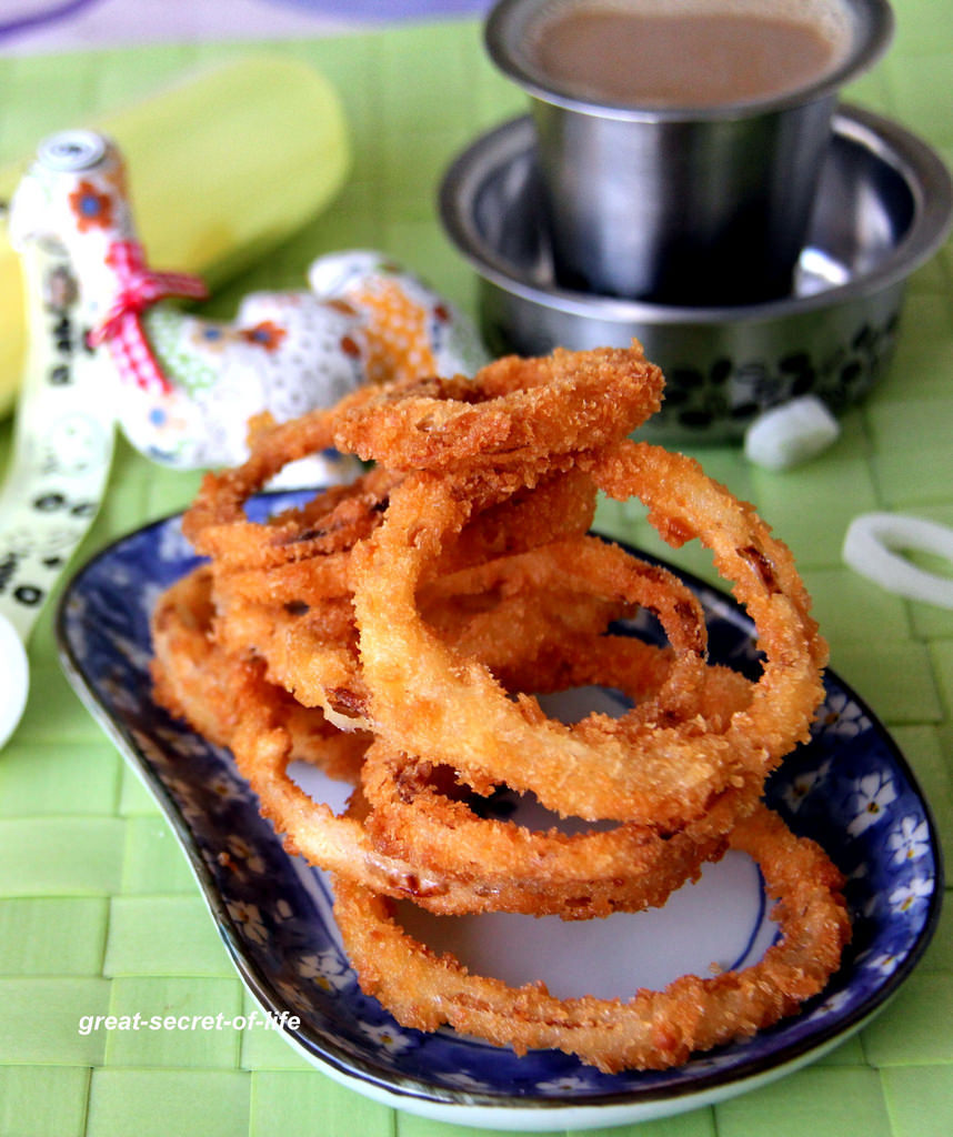 Crispy Onion ring recipe - Home made onion ring recipe - Snack recipe - Kids friendly recipe - Eggless onion ring recipe