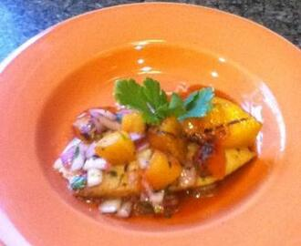 Honey Glazed Tilapia With Grilled Peach Chutney #RSC