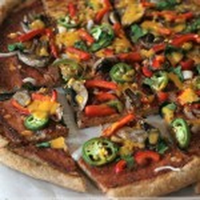 Spicy Veggie Pizza with Whole Wheat Crust