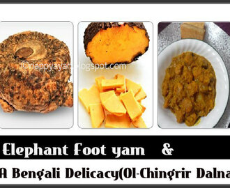 Ol-Chingrir Dalna (Shrimp & Elephant foot Yam Dry Curry)